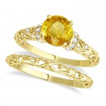 Yellow Sapphire & Diamond Antique Bridal Set 14k Yellow Gold (1.62ct)