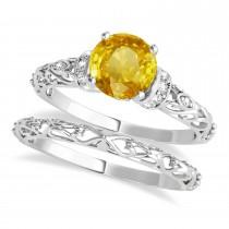 Yellow Sapphire & Diamond Antique Style Bridal Set 18k White Gold (1.62ct)