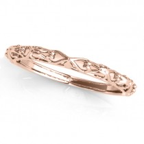 Antique Style Open Scrollwork Wedding Band 14k Rose Gold