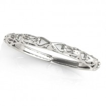 Antique Style Open Scrollwork Wedding Band 18k White Gold