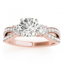 Diamond Three Stone Split Shank Engagement Ring 14k Rose Gold 0.68ct
