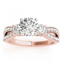 Diamond Three Stone Split Shank Engagement Ring 14k Rose Gold 0.68ct