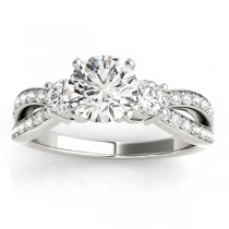 Diamond Three Stone Split Shank Engagement Ring 14k White Gold 0.68ct