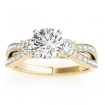 Diamond Three Stone Split Shank Engagement Ring 14k Yellow Gold 0.68ct