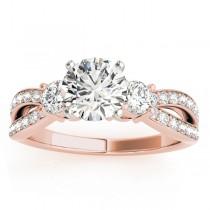 Diamond Three Stone Split Shank Engagement Ring 18k Rose Gold 0.68ct
