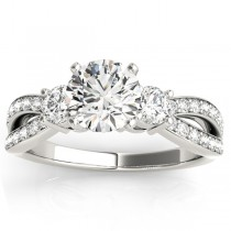 Diamond Three Stone Split Shank Engagement Ring 18k White Gold 0.68ct