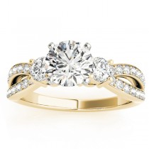 Diamond Three Stone Split Shank Engagement Ring 18k Yellow Gold 0.68ct