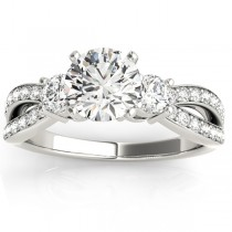 Diamond Three Stone Split Shank Engagement Ring Palladium 0.68ct