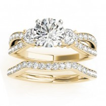 Diamond Three Stone Split Shank Bridal Set 14k Yellow Gold (0.89ct)