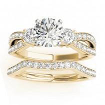 Diamond Three Stone Split Shank Bridal Set 18k Yellow Gold (0.89ct)