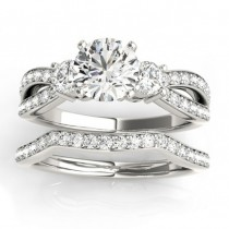 Diamond Three Stone Split Shank Bridal Set Platinum (0.89ct)