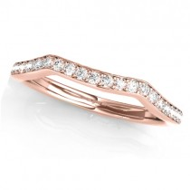 Diamond Curved Wedding Band Ring 18k Rose Gold (0.21ct)