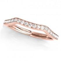 Diamond Curved Wedding Band Ring 18k Rose Gold (0.21ct)