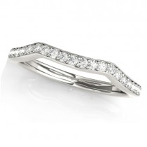 Diamond Curved Wedding Band Ring 18k White Gold (0.21ct)
