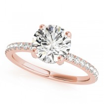 Diamond Solitaire Engagement Ring w Accents 14k Rose Gold 1.26ct