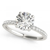 Diamond Solitaire Engagement Ring w Accents 14k White Gold 1.26ct