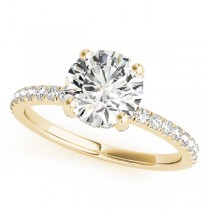 Diamond Solitaire Engagement Ring w Accents 18k Yellow Gold 1.26ct