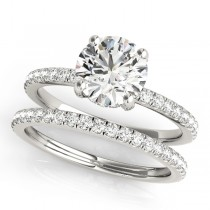 Diamond Accented Solitaire Bridal Set 18k White Gold (1.45ct)