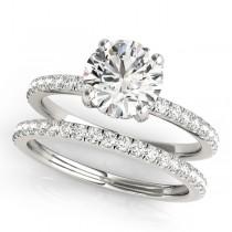 Diamond Accented Solitaire Bridal Set Platinum (1.45ct)