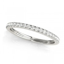 Diamond Accented Semi Eternity Wedding Band 14k White Gold (0.19ct)