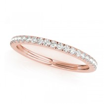 Diamond Accented Semi Eternity Wedding Band 18k Rose Gold (0.19ct)