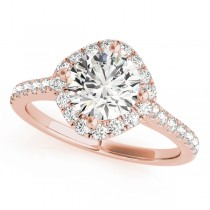 Diamond East West Halo Engagement Ring 18k Rose Gold (0.96ct)
