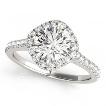 Diamond East West Halo Engagement Ring 18k White Gold (0.96ct)