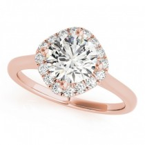 Diagonal Diamond Halo East West Engagement Ring 14k Rose Gold 1.16ct