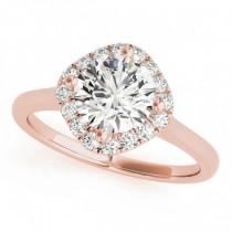 Diagonal Diamond Halo East West Engagement Ring 14k Rose Gold 1.16ct