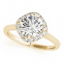 Diagonal Diamond Halo East West Engagement Ring 14k Yellow Gold 1.16ct