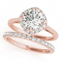 Diagonal Diamond Halo East West Bridal Set 14k Rose Gold (1.33ct)