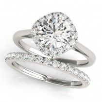 Diagonal Diamond Halo East West Bridal Set 14k White Gold (1.33ct)
