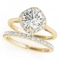 Diagonal Diamond Halo East West Bridal Set 14k Yellow Gold (1.33ct)