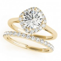 Diagonal Diamond Halo East West Bridal Set 18k Yellow Gold (1.33ct)