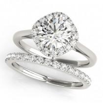 Diagonal Diamond Halo East West Bridal Set Platinum (1.33ct)