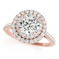 Double Halo Diamond Engagement Ring 18k Rose Gold (1.50ct)