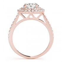 Double Halo Diamond Engagement Ring 18k Rose Gold (1.50ct)