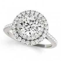Double Halo Diamond Engagement Ring Palladium (1.50ct)