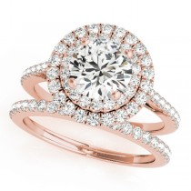 Double Halo Diamond Bridal Set 14k Rose Gold (1.64ct)