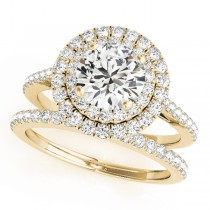 Double Halo Diamond Bridal Set 14k Yellow Gold (1.64ct)