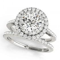 Double Halo Diamond Bridal Set 18k White Gold (1.64ct)