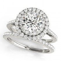 Double Halo Diamond Bridal Set Platinum (1.64ct)