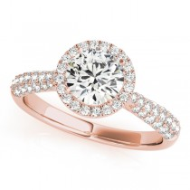 Tripple Row Diamond Halo Engagement Ring 14k Rose Gold (1.08ct)