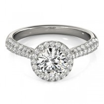 Tripple Row Diamond Halo Engagement Ring 14k White Gold (1.08ct)