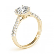 Tripple Row Diamond Halo Engagement Ring 14k Yellow Gold (1.08ct)