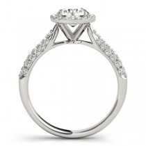 Tripple Row Diamond Halo Engagement Ring 18k White Gold (1.08ct)