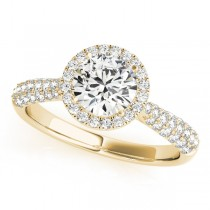 Tripple Row Diamond Halo Engagement Ring 18k Yellow Gold (1.08ct)