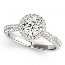 Diamond Halo Sidestone Accented Engagement Ring Platinum (1.08ct)