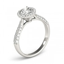 Diamond Halo Pave Sidestone Accented Engagement Ring 14k White Gold (0.33ct)