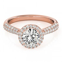 Diamond Halo Pave Sidestone Accented Engagement Ring 18k Rose Gold (0.33ct)
